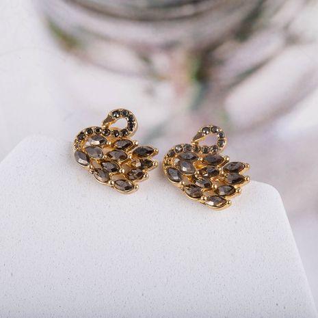 s925 aiguille d'argent cristal noir Corée nouveau style mode filles petites boucles d'oreilles cygne NHQS262064's discount tags