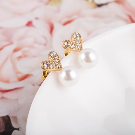 New fashion heart-shaped Korea s925 silver needle pearl diamond alloy earrings  NHQS262065's discount tags