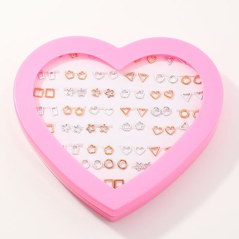 Vente en gros ensemble de boucles d'oreilles coeur or et argent NHNU262971's discount tags
