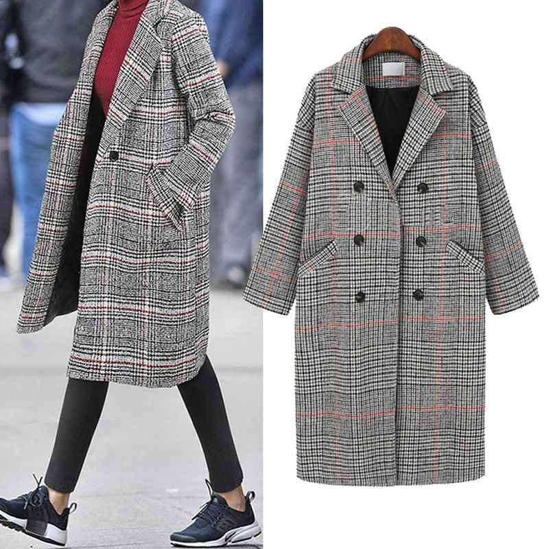 new retro loose thick mid-length plaid woolen  thick coat  NHJC262077