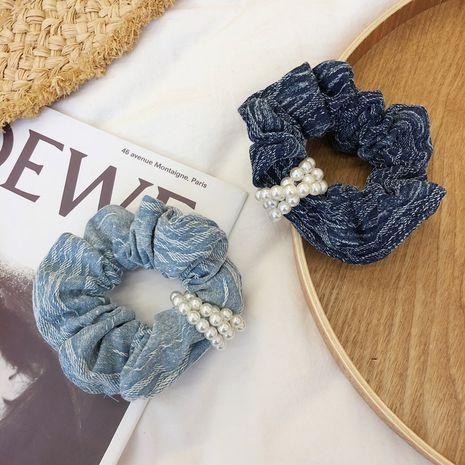 Korean denim pearl hair ring rubber band flower hair scrunchies  NHSM262214's discount tags
