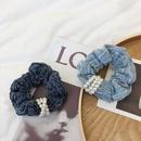 Korean denim pearl hair ring rubber band flower hair scrunchies  NHSM262214