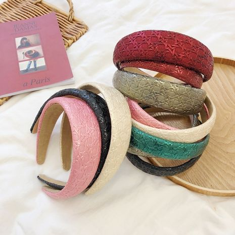 retro imitation leather sponge letters wide-brimmed headband   NHSM262215's discount tags