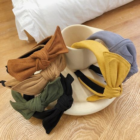 simple velvet bow headband rabbit ears wide-brimmed suede headband  NHSM262216's discount tags