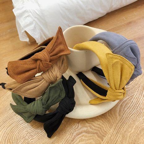 simple velvet bow headband rabbit ears wide-brimmed suede headband  NHSM262216's discount tags