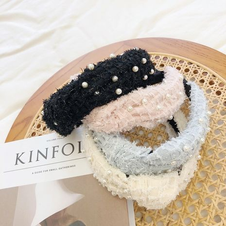 pearl plush simple mesh bead knotted wide-brimmed headband  NHSM262217's discount tags