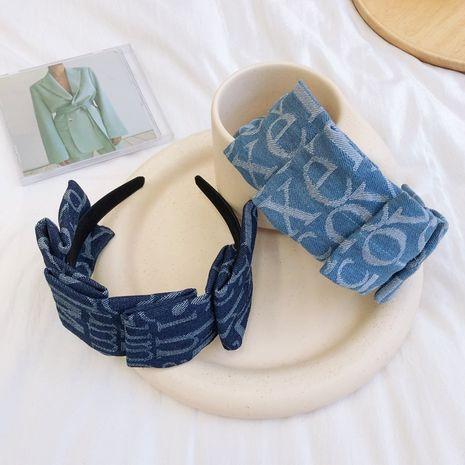 fold denim broad-brimmed letter headband wholesale NHSM262218's discount tags