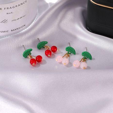 Pendientes de fruta de simulación de niña dulce de cereza NHDP262224's discount tags