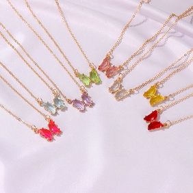 fashion new  transparent color glass butterfly necklace NHDP262226
