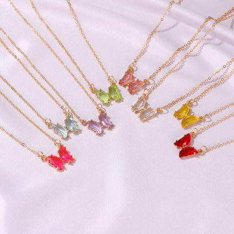 mode nouveau collier papillon en verre de couleur transparente NHDP262226's discount tags