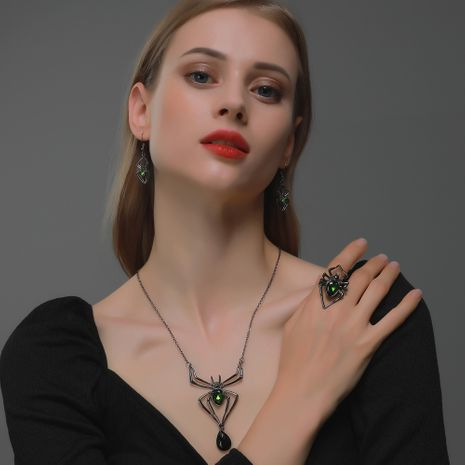 Anillo de pendientes de collar de araña exagerado de joyería de Halloween NHDP262227's discount tags