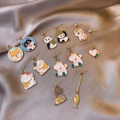 Nuevos pendientes asimétricos lindos del gato de la suerte del perrito panda NHDP262229's discount tags
