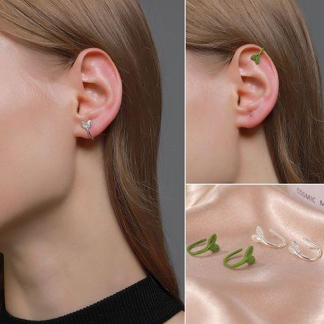 Clips de oreja de hoja de árbol simple coreano pendientes de brote de planta NHDP262230's discount tags