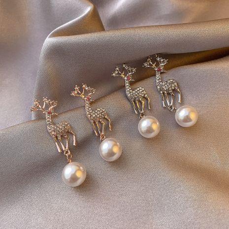 Pendientes nuevos de navidad temperamento diamante alce animal perla ciervos pendientes NHDP262231's discount tags