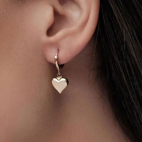 Espejo simple pendientes de amor tridimensionales pendientes de metal en forma de corazón de estilo punk NHDP262233's discount tags