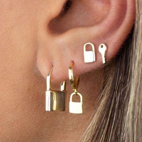 Pendientes de estilo nuevo, conjunto de personalidad retro, pendientes con cerradura de llave NHDP262238's discount tags