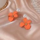 pearl flower  matte sweet small flower earrings  NHDP262244