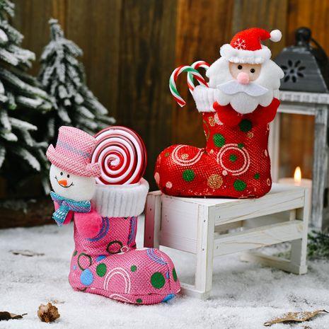 nouvelles décorations de Noël tête de dessin animé bottes en tissu brillant bottes de bonbons roses rouges chaussures cadeaux NHHB262246's discount tags