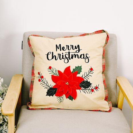 nouveaux ornements de Noël grande taie d'oreiller fleur rouge taie d'oreiller carrée taie d'oreiller en lin NHHB262248's discount tags