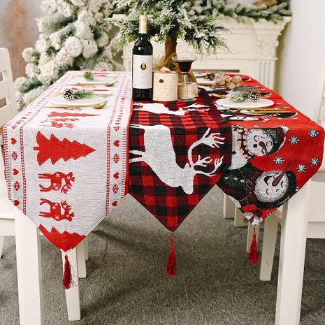 chemin de table en tissu tricoté électrique brodé nappe de napperon élan de bonhomme de neige créatif NHHB262252's discount tags