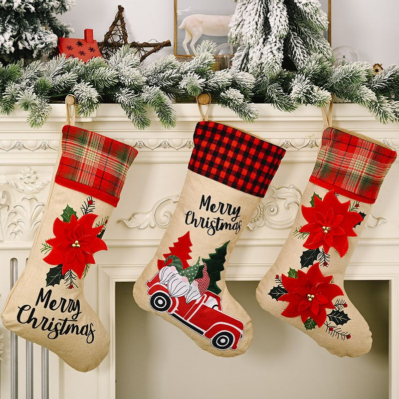 Christmas Decorations Red Flower Linen Socks Forest Car Elderly Socks NHHB262254