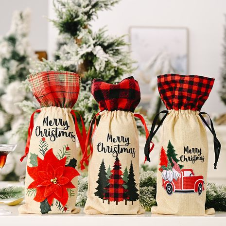 Christmas linen wine bottle cover red flower wine cover lattice car wine bottle bag NHHB262257's discount tags
