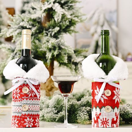 new creative Christmas ornaments knitted buttons snowflake wine bottle sleeve red sweater wine sleeve wine bag NHHB262260's discount tags