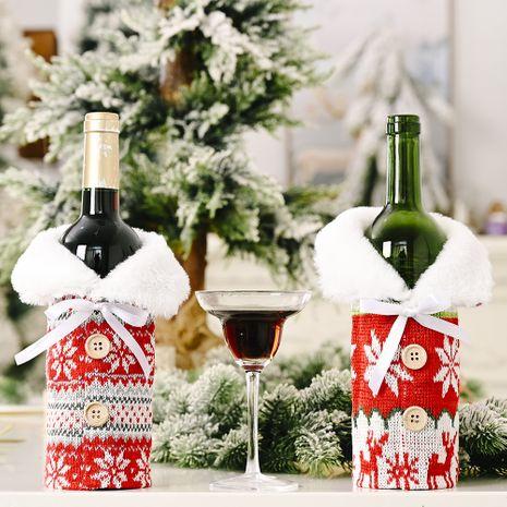 nouveaux ornements de Noël créatifs boutons tricotés flocon de neige manches de bouteille de vin pull rouge manches de vin sac de vin NHHB262260's discount tags