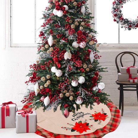jupe d'arbre en lin créative grande fleur rouge arbre de noël en treillis NHHB262263's discount tags
