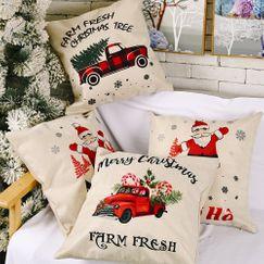 Christmas new decorations linen pillowcases creative elderly Christmas car pillowcase  NHHB262264