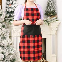 Suministros de decoración navideña delantal a cuadros rojo y negro. NHHB262265