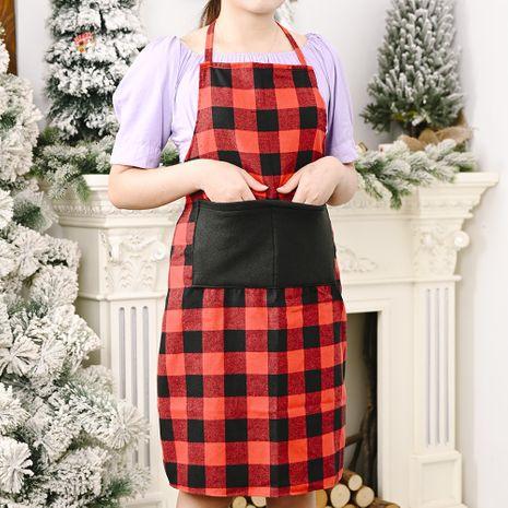 Fournitures de décoration de Noël tablier à carreaux rouge et noir NHHB262265's discount tags