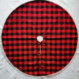 nueva falda de árbol de celosía con borde de pompón de decoraciones navideñas NHHB262269