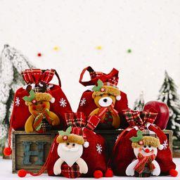 nueva bolsa de manzana a rayas de lino bolsa de regalo de suministros navideños creativos NHHB262270