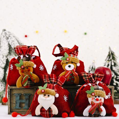 nouveau sac de pomme rayé en lin sac cadeau créatif de fournitures de Noël NHHB262270's discount tags