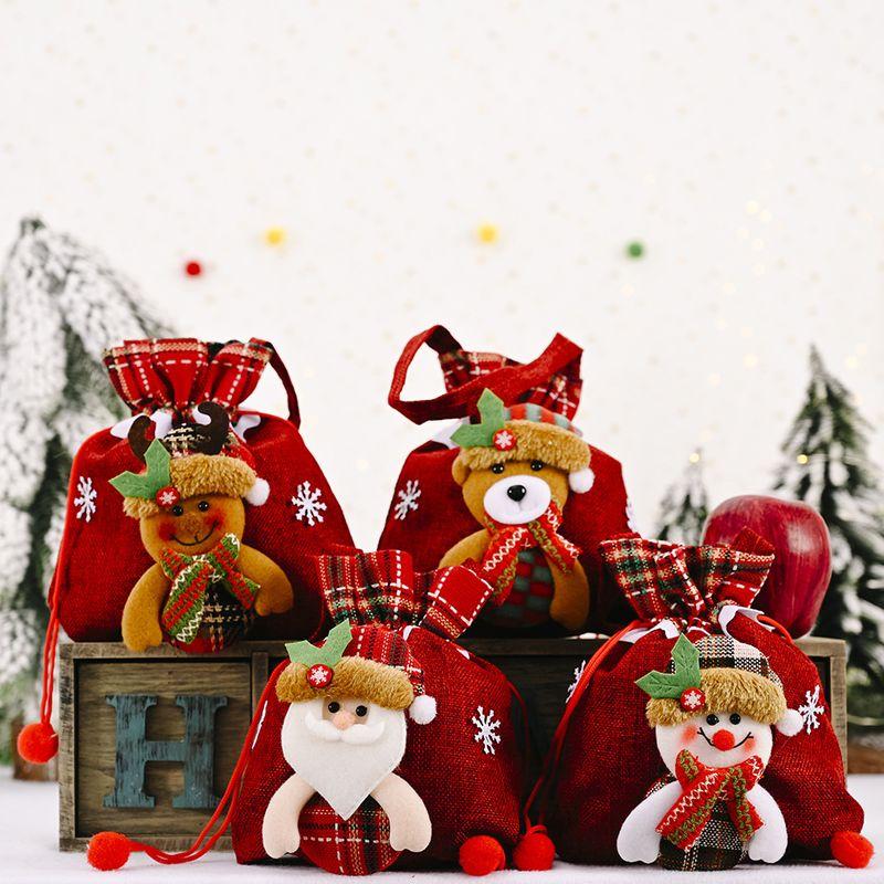 new linen striped apple bag creative Christmas  supplies gift bag  NHHB262270