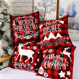 Adornos navideños Funda de almohada a cuadros de lino creativo Funda de almohada de alce navideño NHHB262271