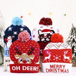 Decoraciones navideñas Decoraciones de gorro de punto con batería reemplazable NHHB262274