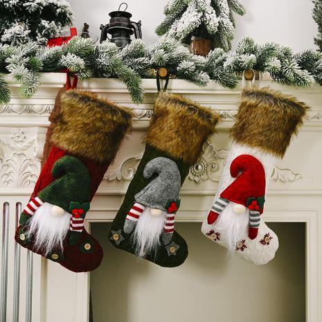 Christmas Decorations Faceless Doll Fluff Christmas Socks    NHHB262275's discount tags