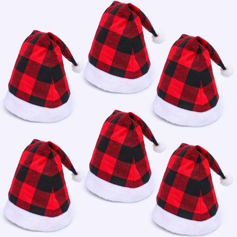 Ornements de Noël Chapeau à carreaux rouge et noir Chapeau de père Noël créatif NHHB262278's discount tags