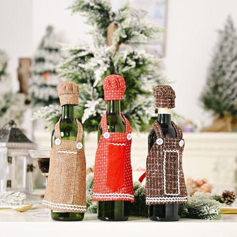 Décorations de Noël Tablier en dentelle Décoration de couverture de bouteille de vin NHHB262279's discount tags