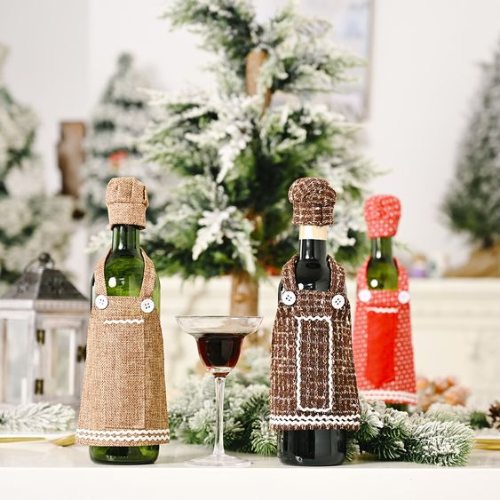 Christmas Ornaments Lace Apron Wine Bottle Cover Decoration Nhhb262279