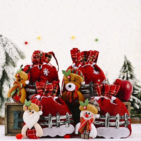 Nouveaux ornements de Noël sac de pomme de jute sac-cadeau créatif de bonhomme de neige âgé NHHB262280's discount tags