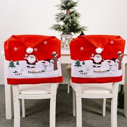 Decoraciones navideñas Funda de silla de muñeco de nieve de anciano no tejido creativo NHHB262281