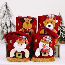 Bolsa de decoración navideña Lino mullido Bolso de mano navideño Bolsa de regalo de Santa NHHB262282