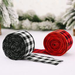 Decoraciones navideñas Cinta de cuadros navideños roja y negra NHHB262283