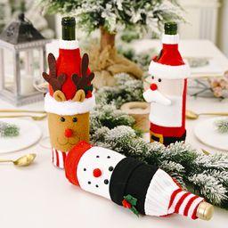 Decoración navideña de punto de franela de dibujos animados cubierta de botella de vino dibujos animados creativos viejo hombre cubierta de botella de vino bolsa de botella de vino de alce NHHB262285