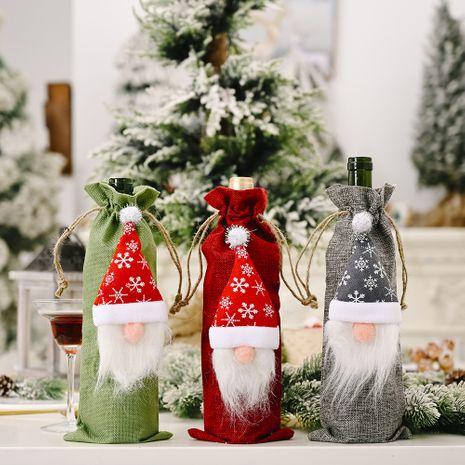 Décorations de Noël forêt vieil homme sac de bouteille de vin en lin poupée sans visage sac de bouteille de vin ensemble de vin NHHB262296's discount tags