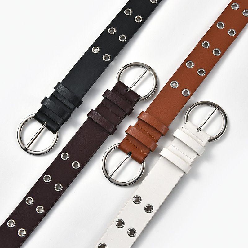 Nuevo cinturn de hebilla de pasador de ojo hueco de jeans punk casuales para damas de maz de doble fila NHPO262359