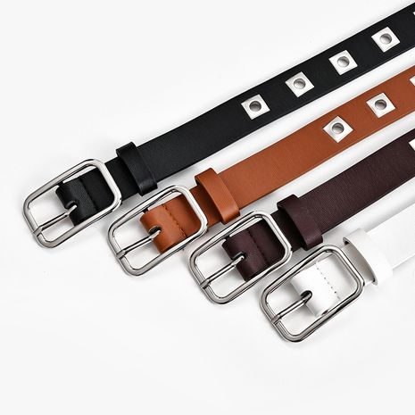 Punk style hollow belt ladies fashion square eyelet button all-match solid color belt  NHPO262363's discount tags